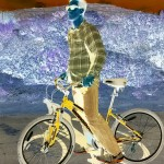 Photo of a man on the bike edited with negative effect
