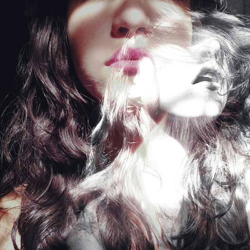 Black haired girl photo with ghost effect