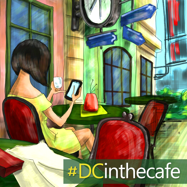 Drawing of a woman in the cafe