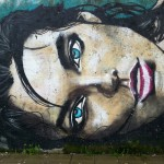 Girl with blue eyes street art