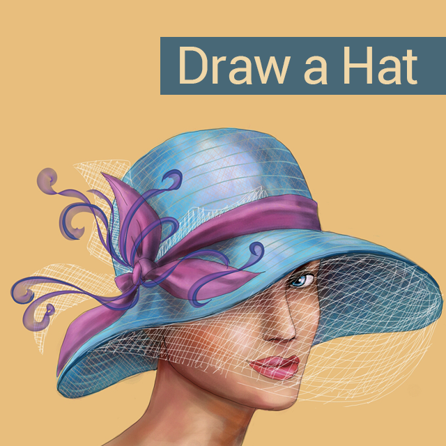 Drawing of a woman with hat for drawing challenge