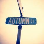 Autumn street name sign