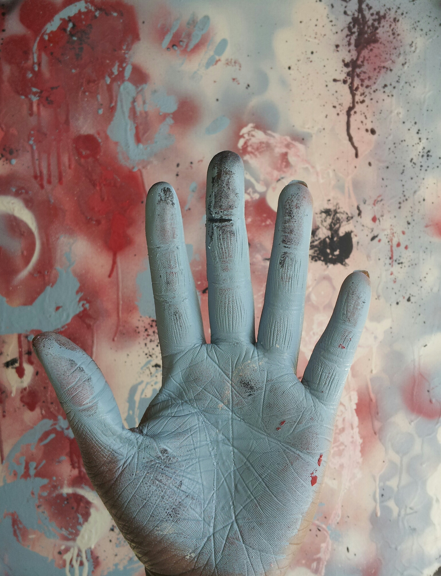 Blue colored hand of support