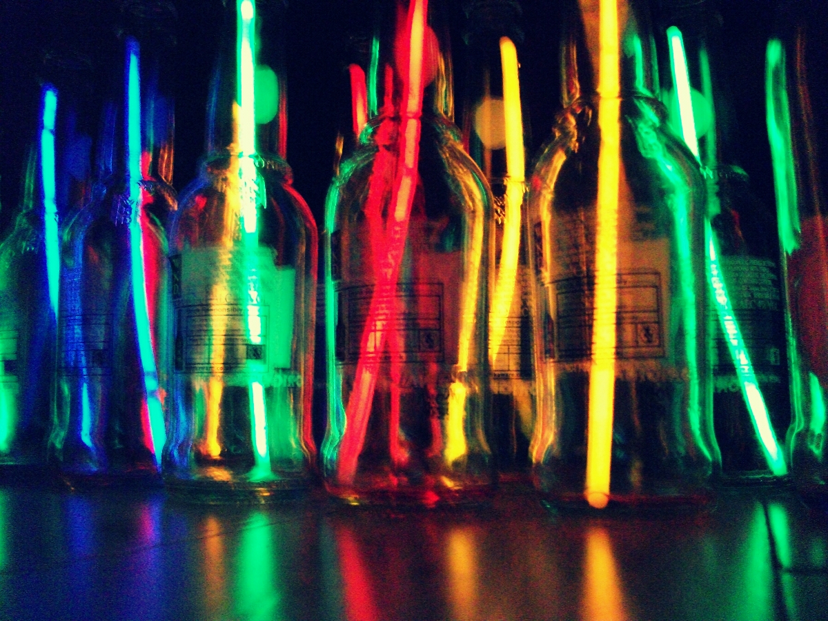 Bottles with neon light