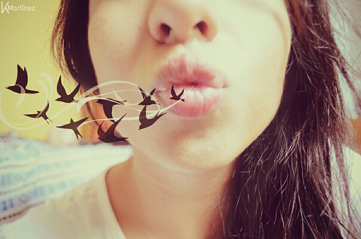 Photo of a girl who blows birds sticker