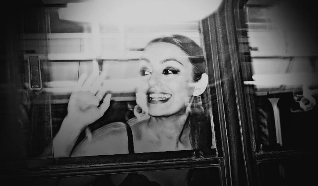 Smiling girl in public transport