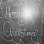 Merry Christmas written with chalk