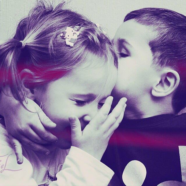 Photo of hugging kids edited with picsart
