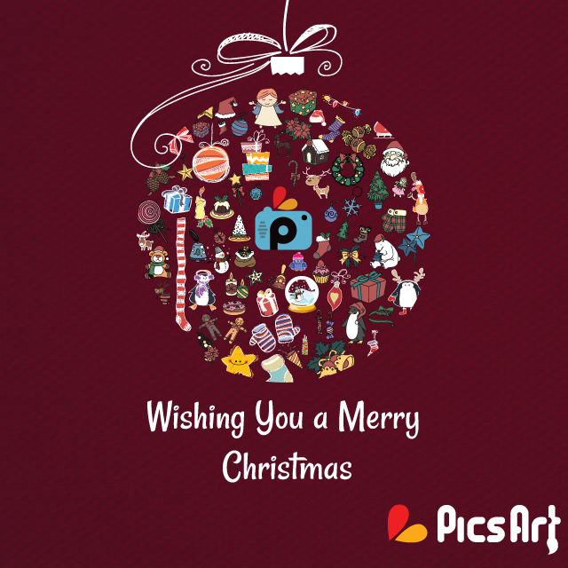 Merry Christmas greeting from Picsart