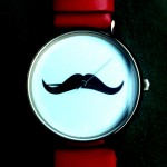 Watch with mustache and red belt