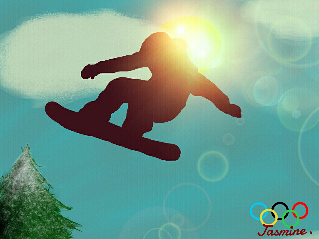 Drawing of the snowboarder
