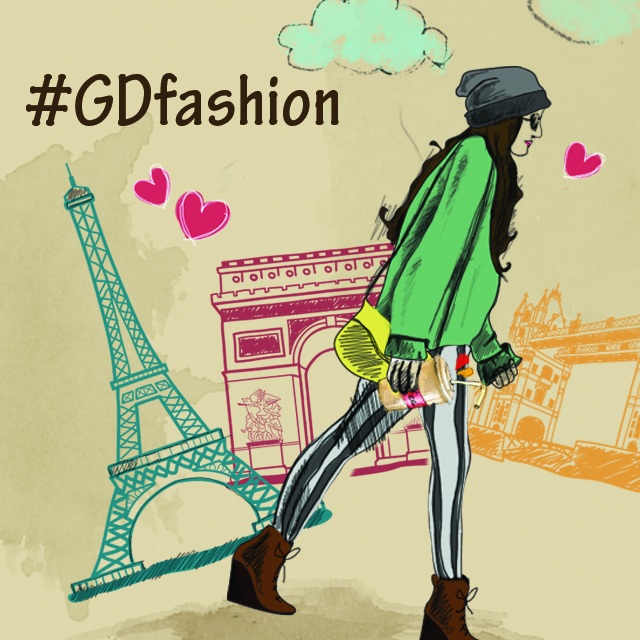 Girl drawing in front of Eiffel tower and Triumphal arch