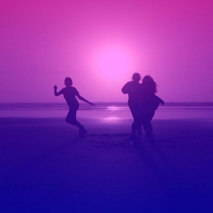 Photo of friends on the beach edited with gradient effect