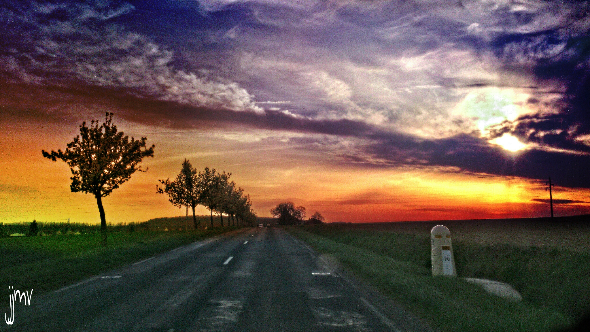 Photo of the road with tress and grass during sunset