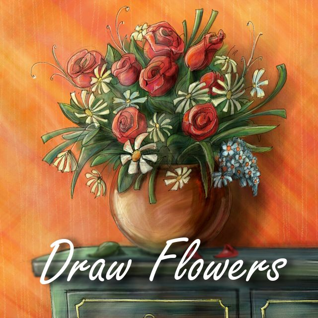 draw flowers with digital drawing tools