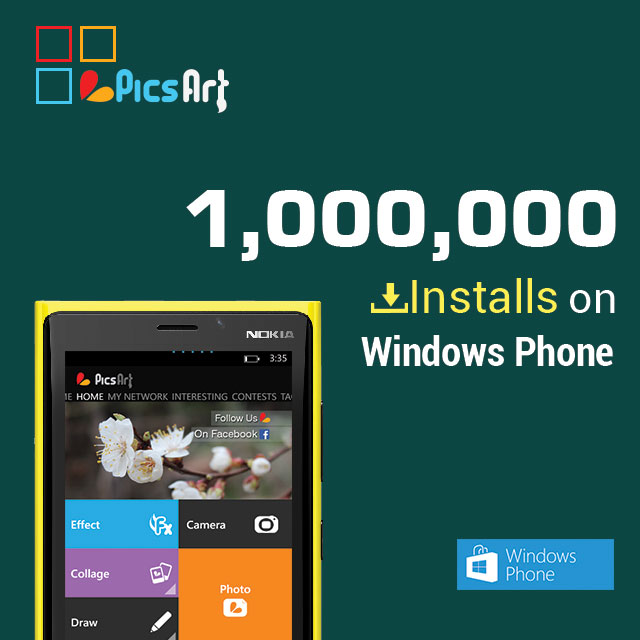 PicsArt for Windows phone 1 million installs