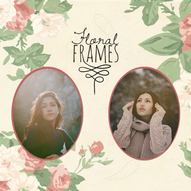 floral grames, photo editing package