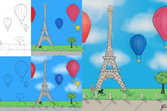 PicsArtists Post Tutorials of their Hot Air Balloon Drawings