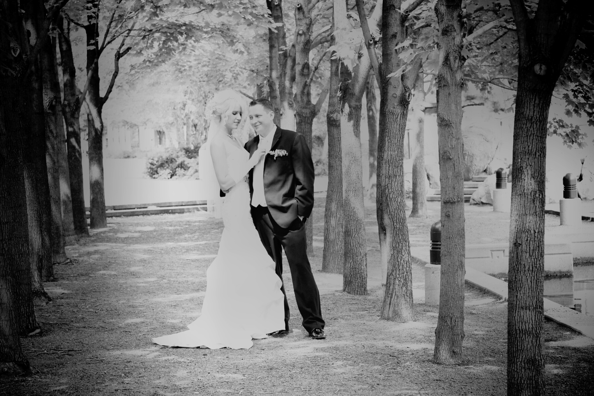 Black and white photo from memorable wedding
