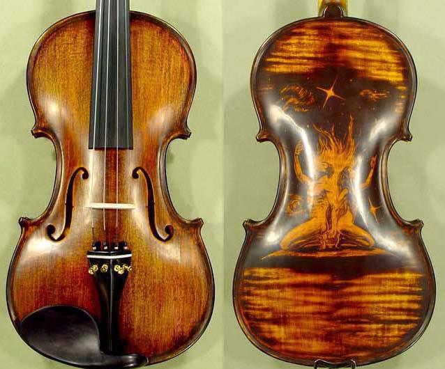 Beautiful violin with art on the back side