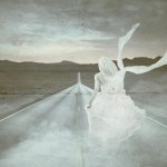 Bride running on the road photo