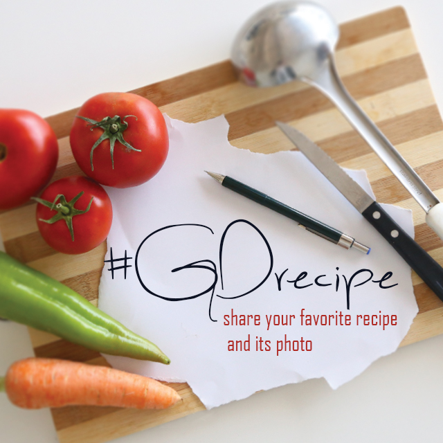 Vegetables on cutting desk with gorecipe text on it