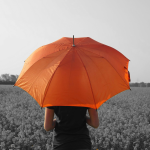 Girl with orange umbrella in the field edited with picsart