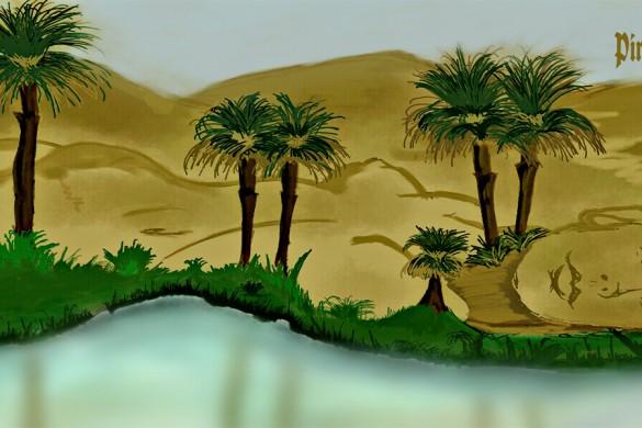 desert oasis drawing - photo #6