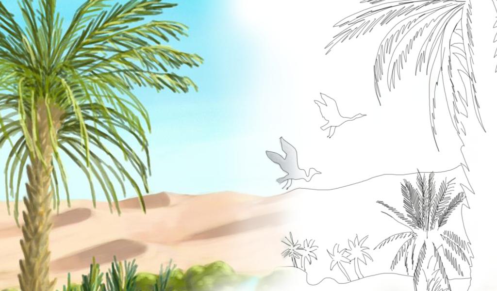 desert oasis drawing - photo #27