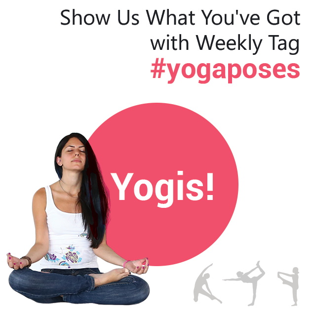 Girl in a yoga pose with yogis text