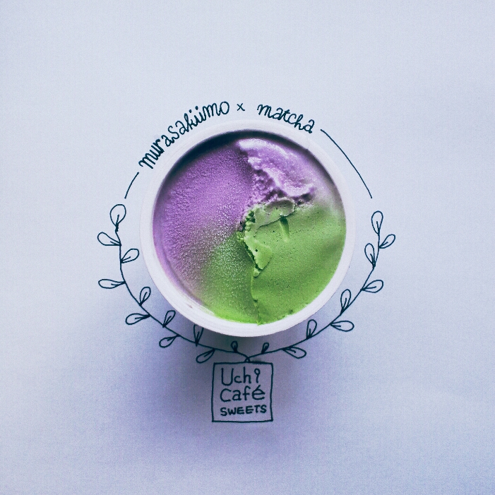 Green and violet ice cream in the cup