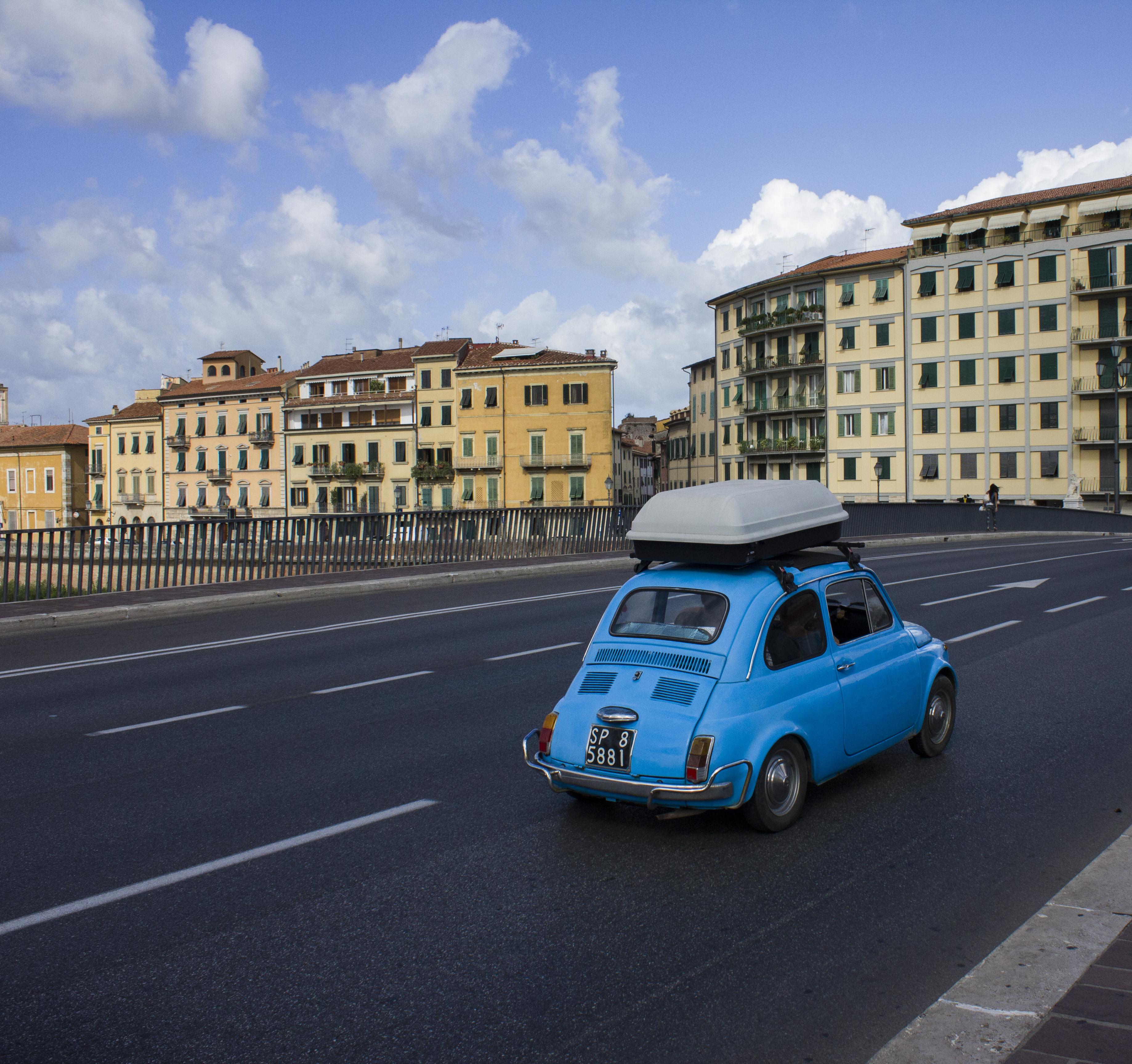 Blue Fiat on the street