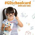 School card with cute girl in glasses