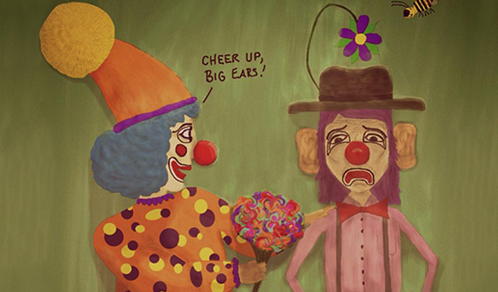 Drawing of clowns for drawing challenge