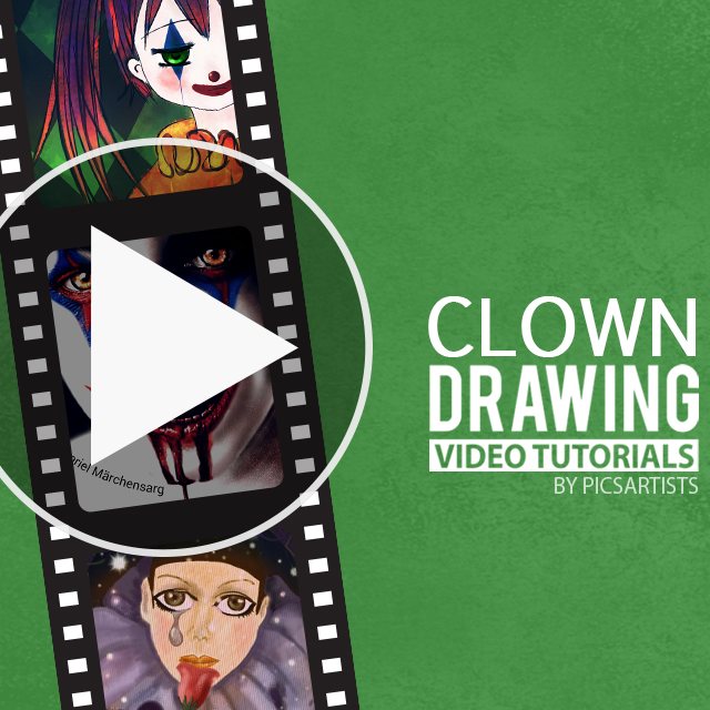 Video drawing tutorial for clown challenge