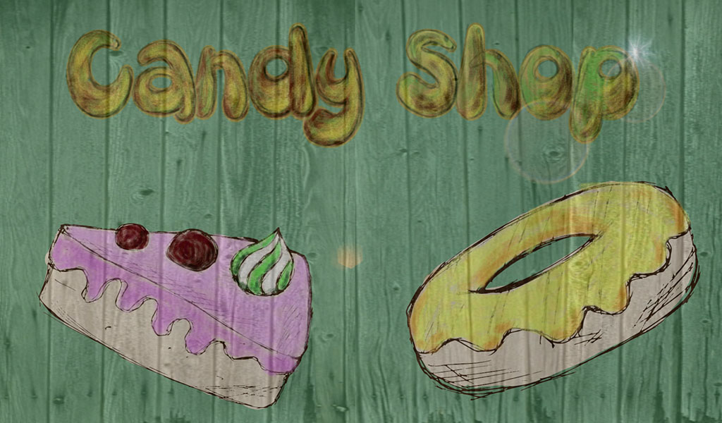 Drawing of donut and cake with candy shop text on the wall