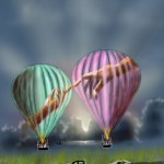 Air balloons drawing with The creation of Adam
