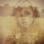 photo of girl and flower field edited with double exposure tool