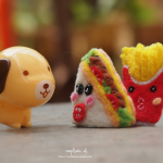 dog toy, sandwich and french fries toys