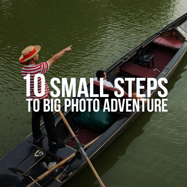 2 man on a boat with 10 small steps to big photo adventure text on it