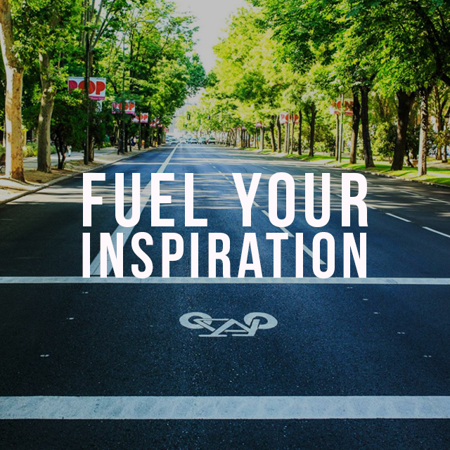 street and tress photo with fuel your inspiration text on it