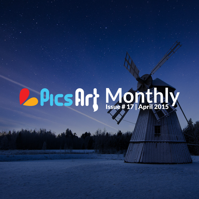 Mill photo at night on picsart magazine for April 2015