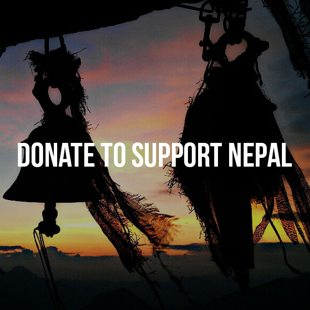 Donate to support Nepal text on the photo of bells