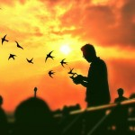 Photo of a stranger edited with birds sticker