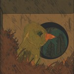 Drawing of a chick in its birdhouse
