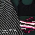 Pink nike sneakers on flat lay