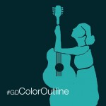 blue color outline on photo of a girl with guitar