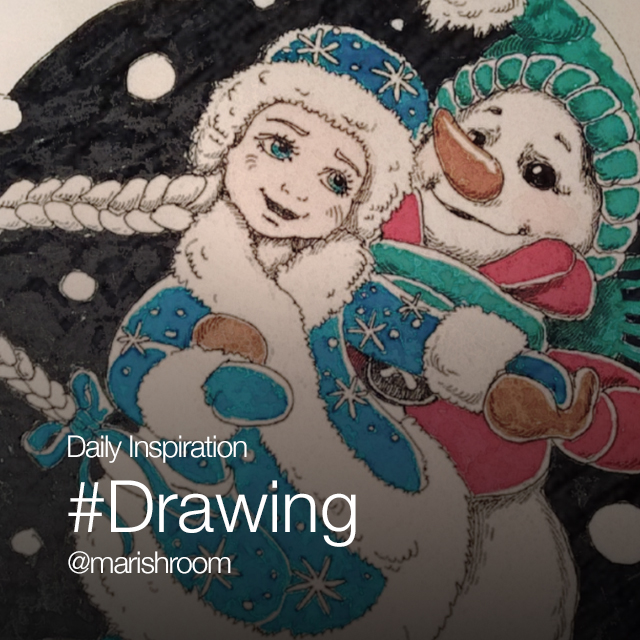 Drawing of Snow Maiden and Snow man