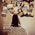 Girl looking at photos on the wall. Memories
