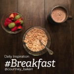 Breakfast photo with cereal, fruits and coffee